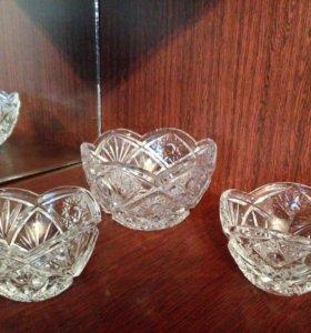 Хрустальные салатницы - 3 вазочки