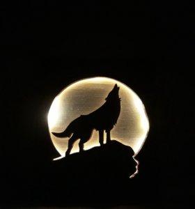 """Оригинальная картина из дерева с подсветкой.""""Волк"""""""