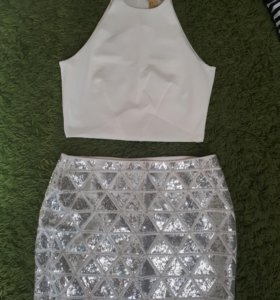 Костюм юбка с паетками и топик!НОВЫЙ!H&M