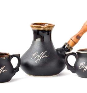 Турка керамическая с двумя чашками+подарок