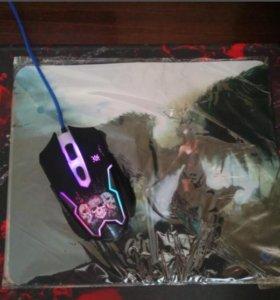 Игровая мышь Defender с ковриком