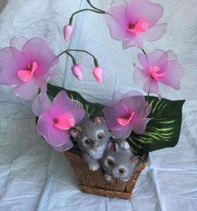 Композиция «Орхидея с котятами»