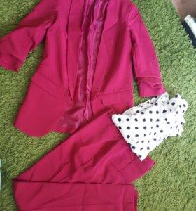 Малиновый классический костюм +рубашка в горошек.