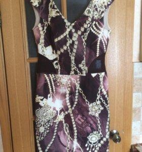 Вечернее платье со вставками-сеткой