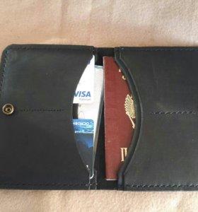 Кожаный кошелек (бумажник) ручной работы
