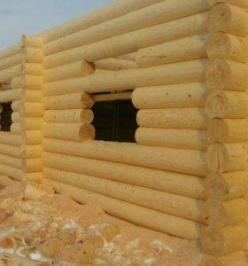 Строим дома и бани из оцилиндрованного бревна.