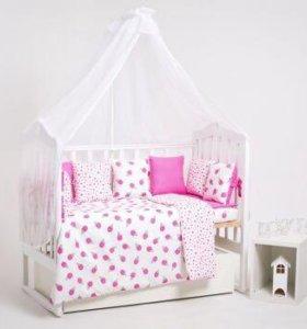 Набор в детскую кроватку Мороженое розовое. NEW