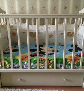 Кроватка детская Лютик маятник продольный с ящиком