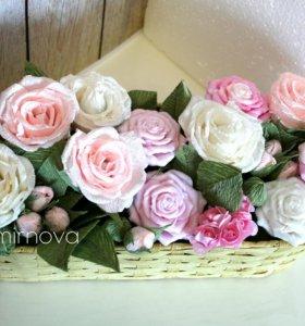 Подарок девушке, корзина с цветами из мыла