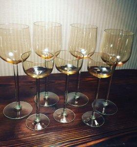 Набор бокалы + ликерные рюмки богемское стекло
