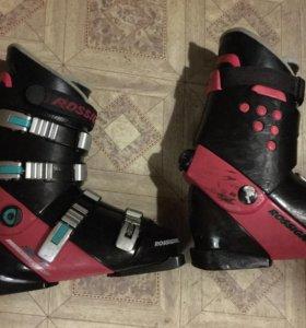 Горные лыжи, ботинки, палки.