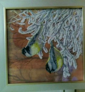 """Картина из бисера """"Снегири"""". 33×34"""