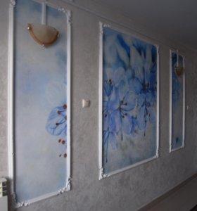 Роспись на стенах, потолках, мебели,дверях.