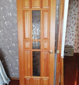 Дверь с коробкой и наличники из сосны.