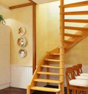 винтовая деревянная лестница кв-009