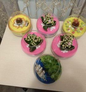 Флорариумы из живых цветов