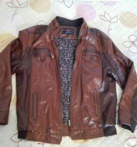 Куртка мужская из натуральной кожи, коричневая