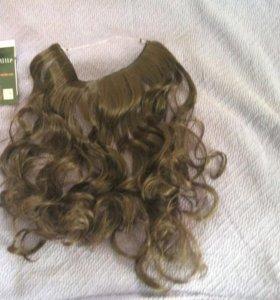 Волосы на резинке.черный цвет( как в пакете)