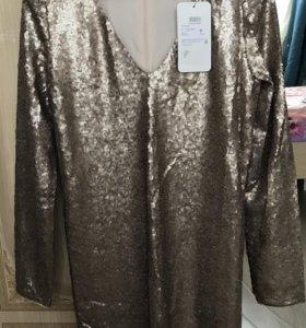 Платье новое из пайеток разм.М (44-46) цвет золото