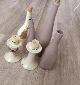 Композиция из бутылок и подсвечников( 6шт)