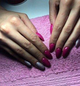 Маникюр покрытие гель лаком наращивание ногтей