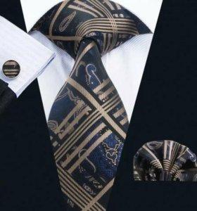 Мужской набор (галстук, платок и запонки) #6