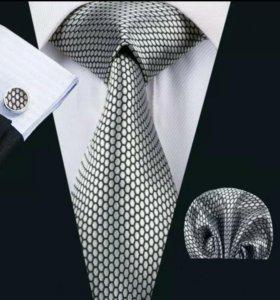 Мужской набор (галстук, платок и запонки) #7