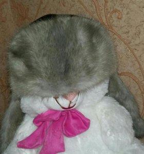 Кожаная шапка с мехом норки