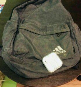 Рюкзак (adidas) и наушники