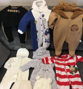Тёплые комбинезоны и шапочки от 0-6 месяцев