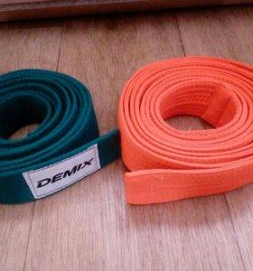 Пояс для каратэ ( зелёный и ораньжевый)