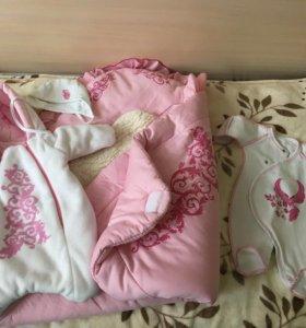 Одеяло-конверт, комбинезон, шапочка