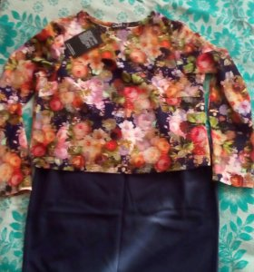 Костюм,юбка карандаш и топик,новый