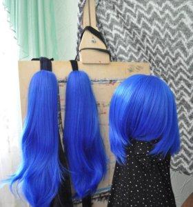 Парик синий с шиньонами