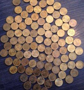 10р юбилейные монеты 99шт