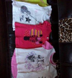Одежда пакетом футболки на девочку р.110