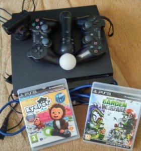 PS3 slim+2 джойстика+1 мув+камера+2 игры в подарок