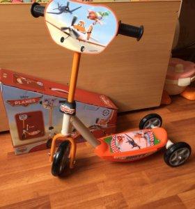 Самокат Disney Самолеты, новый для малышей