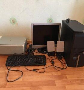 Монитор, системный блок, принтер, колонки