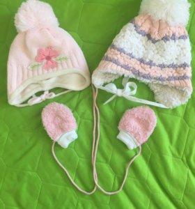 Шапки и варежки для девочки - от 3 до 9 месяцев