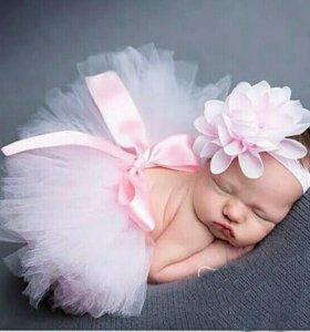 Юбка с ободком,фотосессия, для новорожденных