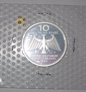 Серебряная монета 5 марок юбилей Рентгена
