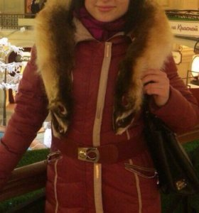 Пуховик зимний бордовый