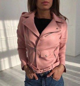 Куртка-косуха кожзам розовая