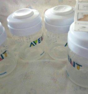 Новый набор (8шт) бутылочек (контейнеров) AVENT