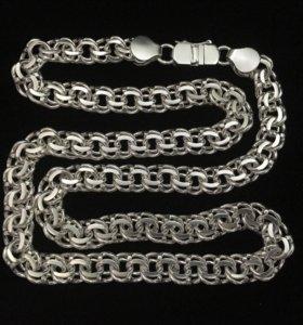 Серебряная цепь, бисмарк, 102.5 грамм, 65.5 см.