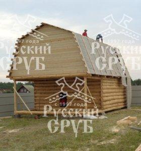 Строительство сруба дома с верандой и мансардой