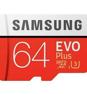 MicroSDXC 64 Gb Samsung EVO + 100 Мб/с