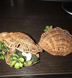 Плетёные ракушки из лозы