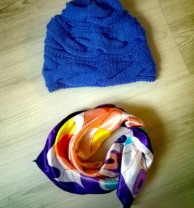 Новая шапка женская, платочек в подарок!